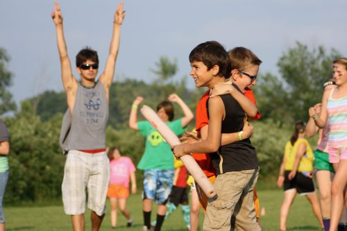 campers celebrating during capture the flag