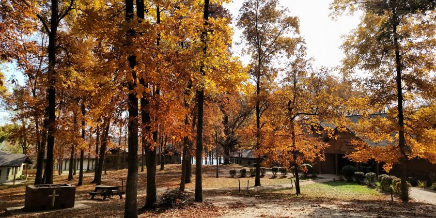 Cabins, Daniel Retreat Center, and firepit during autumn