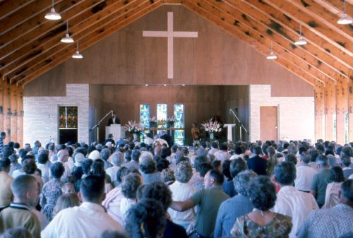 Group gathered in the pavilion for worship (1962)