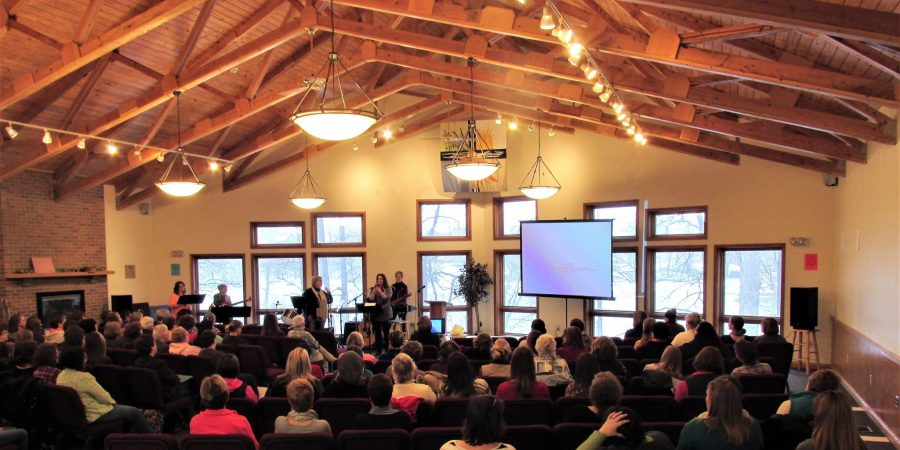 Group worshiping in Daniel Retreat Center upper room