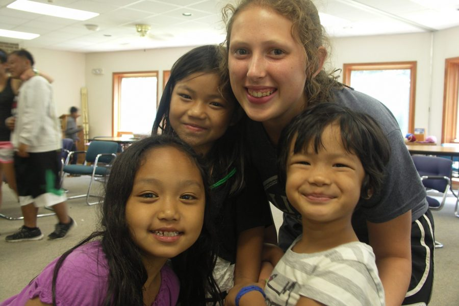 ANO campers and counselor making friends.
