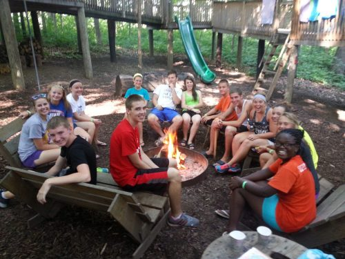Campers enjoying some downtime at treetop