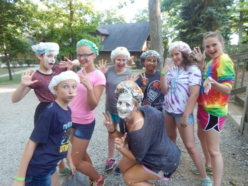 cabin of girls with shaving cream faces