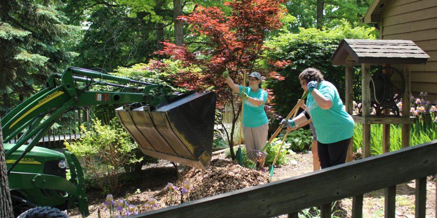 raking woodchips